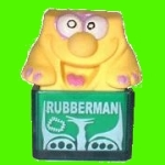 Rubberman green white text